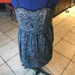 Grey/Black Dress with Lace/Floral Pattern - Size 7